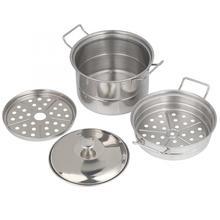 Кухонная посуда из нержавеющей стали, мини-пароварка, горшок для детей, игровой домик, кухонная игрушка для приготовления пищи, кухонные инструменты для приготовления пищи