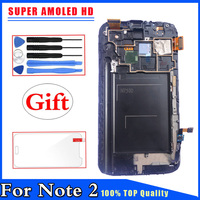 Super AMOLED HD For Samsung Galaxy Note 2 N7100 LCD Display Touch Screen Digitizer With Frame