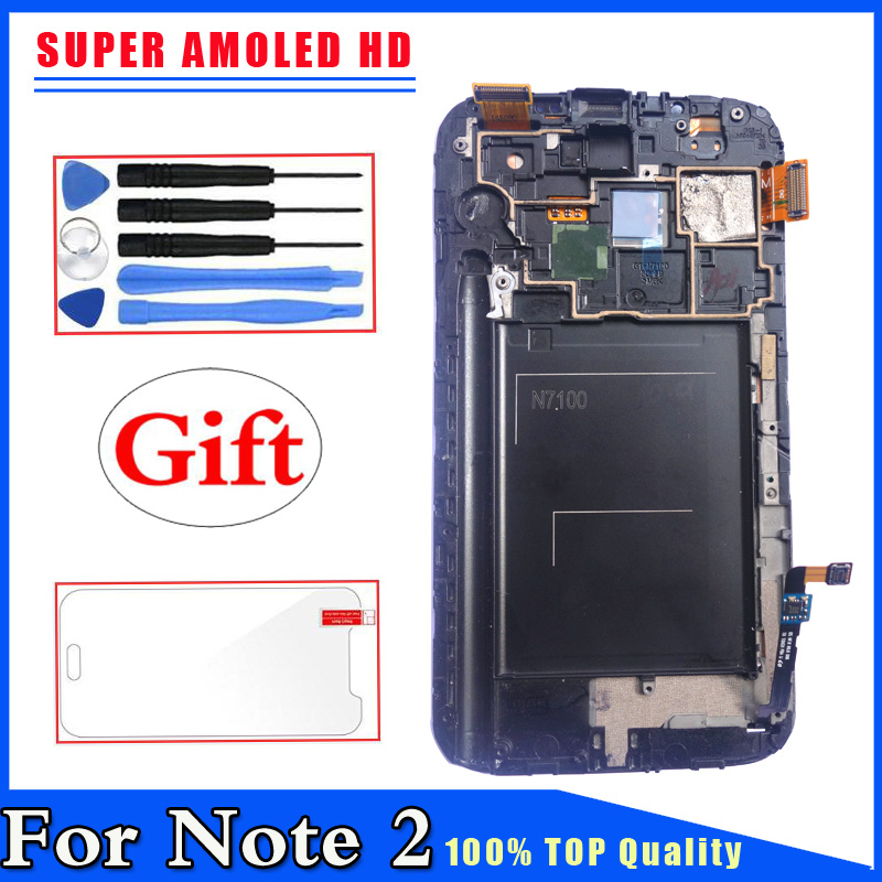 Mobile Phone Parts Super Amoled Hd For Samsung Galaxy Note 2 N7100 Lcd Display Touch Screen Digitizer With Frame Assembly Quell Summer Thirst Cellphones & Telecommunications
