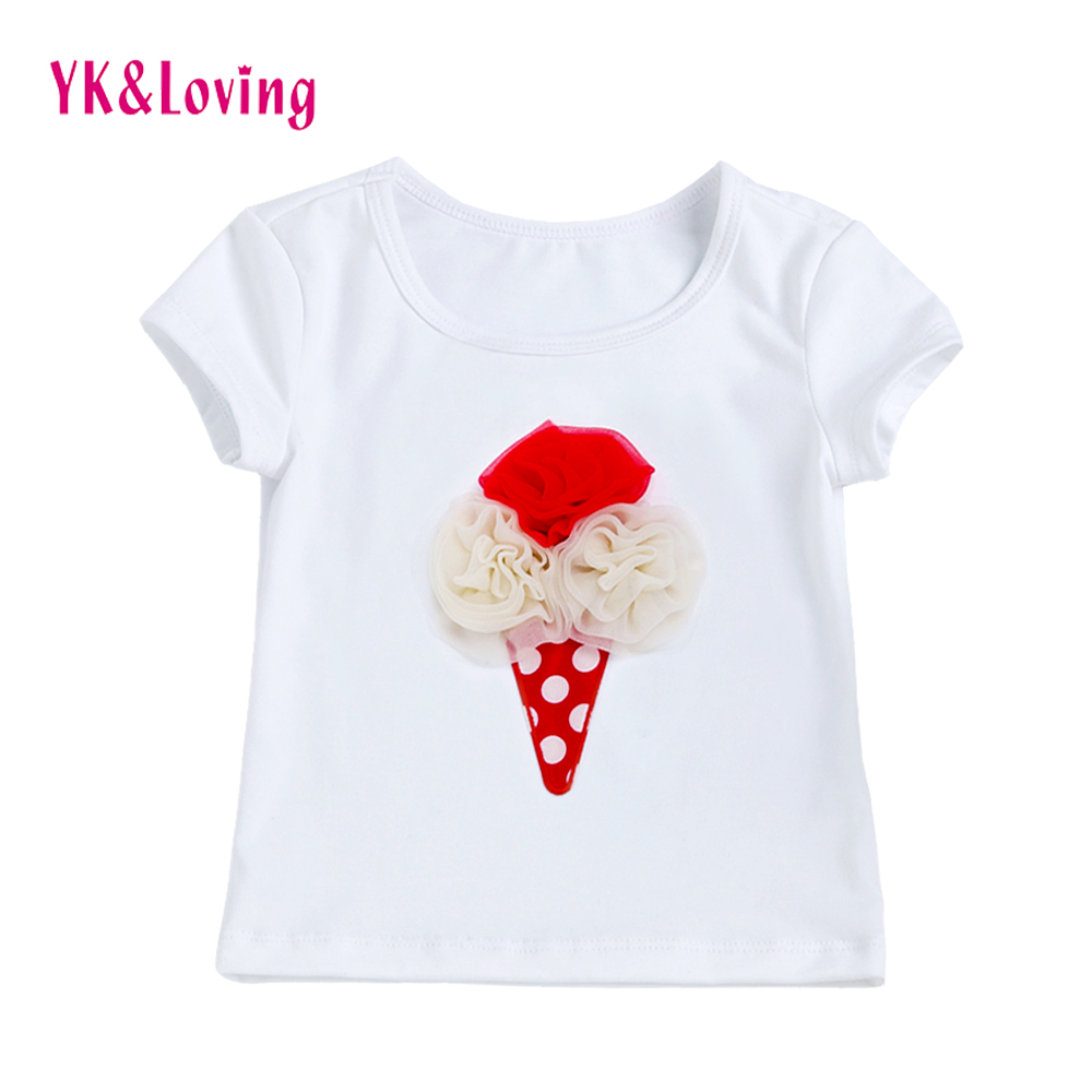 Children Girl White T Shirt Fashion Cartoon Lce Cream