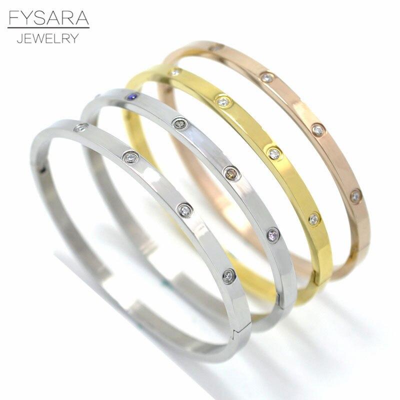 78e639c0b36 FYSARA Luxury Brand Love Bracelet for Women Lover Bangles Jewelry Full Color  Crystal Bracelet Thin Buckle Bangle Cuff Pulseiras
