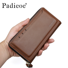 Padieoe Famous Brand Long Wallet for Men Genuine Leather Organizer Fashional Phone Card Holder Luxury Coin Purse Male Clutch Bag