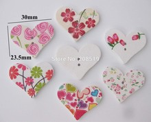 WBNSWG 23mm*30mm Heart shape white Buttons 100pcs/lot Mix random 2 holes sewing accessories