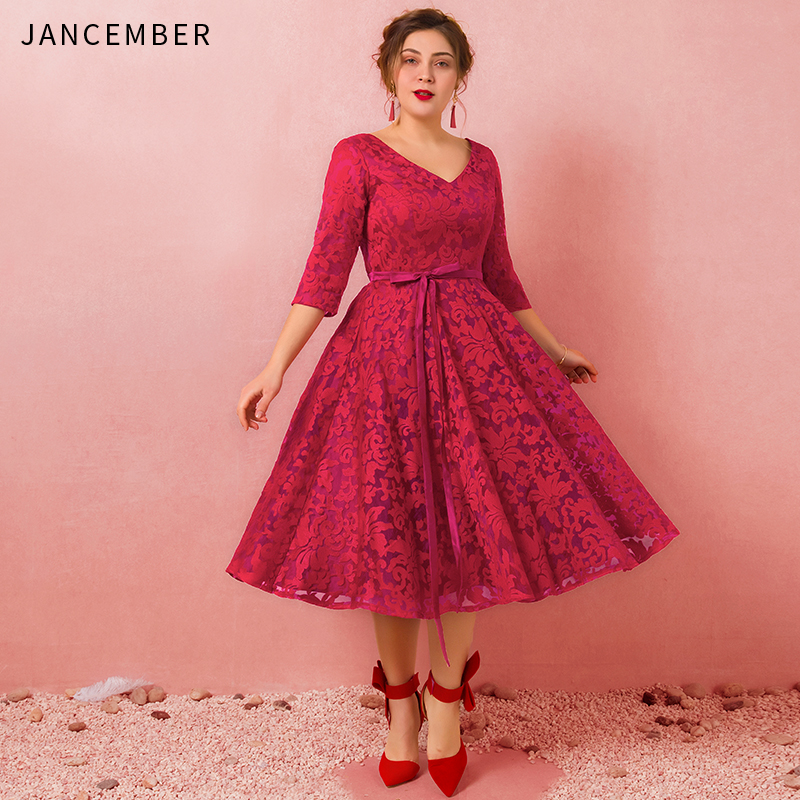 JANCEMBER Plus Size   Cocktail     Dresses   Three Quarter Scalloped Neck A-Line Lace Up Back Applique Red Wine robe de   cocktail   2019