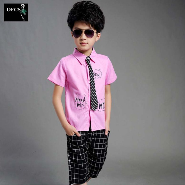 2016 New Design Child Kids Formal Shirt+Shorts And Tie Sets Boy Brand Preppy Style Letter Printing Big Boy A Formal Wedding 2PCS