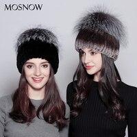 MOSNOW Real Rex Rabbit Fur Women Hat Female Vogue Silver Fox Fur Pompons 2018 Warm Winter Women's Hat Skullies Beanies #PCM724
