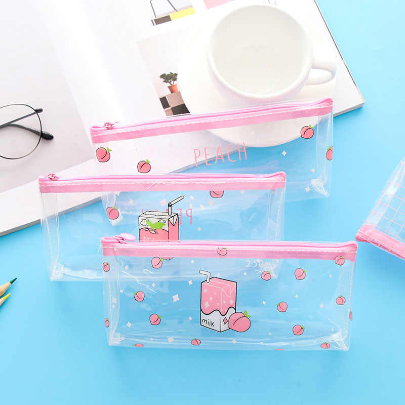 Kawaii Cute Transparent Pencil Case for Girls Child Kids Women School Student lovely Peach Milk Pink Pen Cosmetic Bag Pencilcase