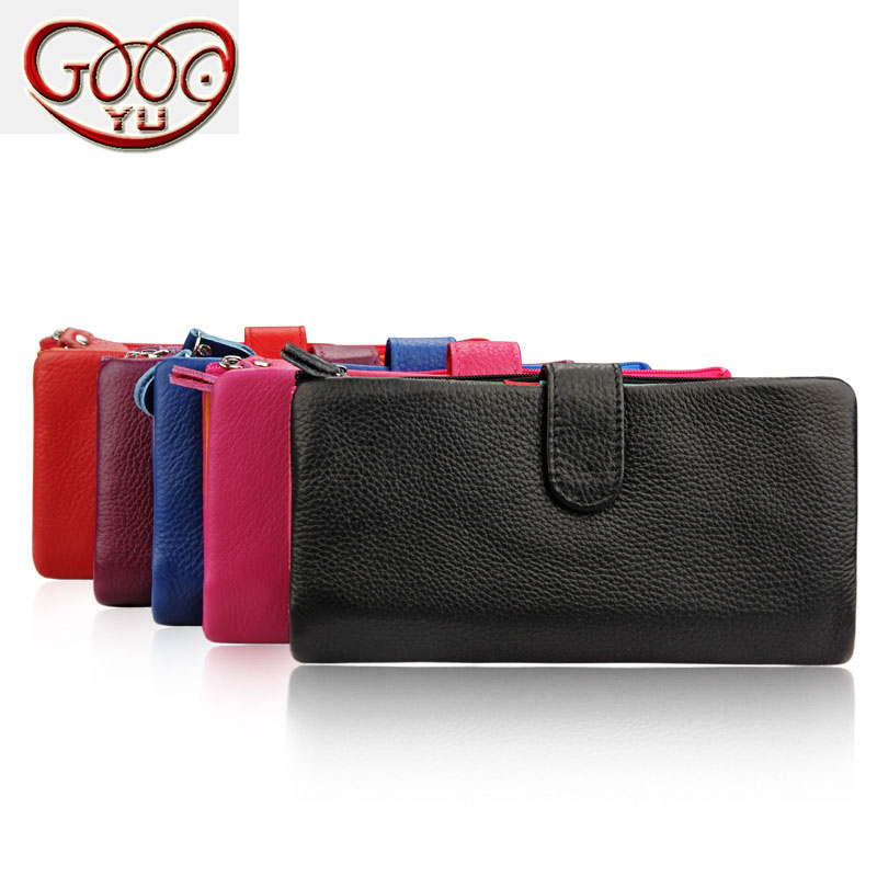 New ladies cowhide long section solid color purse cross section square multi-function 24 multi-card bit ladies wallet