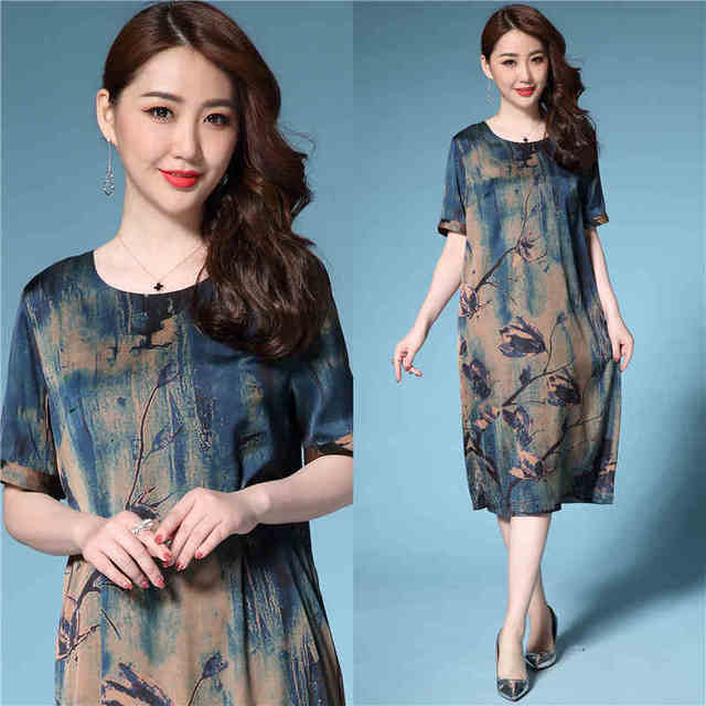 New2018Summer style middle age Women beautiful long dress vintage printed elegant  party dress plus size vestido de festa L-4XL 1fe5be9f2197