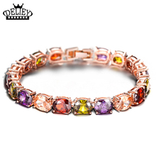 Free Shipping!!! Rose Gold Colour Multicolor Crystal Bracelet Bangles for Women Christmas Gift Luxury Bride Jewelry