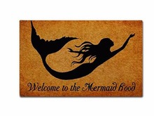 Welcome To The Mermaid Hood Doormat Non-Slip Machine Washable Outdoor Indoor Entrance Bathroom Kitchen Decor Rug Mat