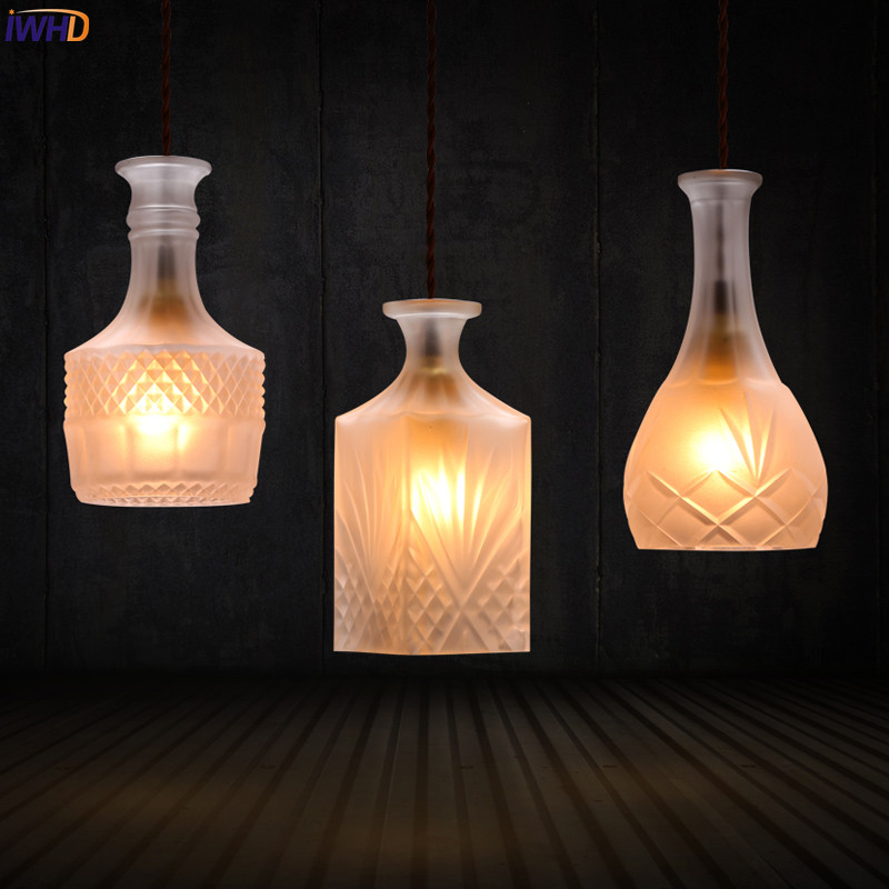IWHD Glass Bottle LED Pendant Lamp Bar Coffe Home Retro Industrial Lighting Vintage Light Lamparas Luminaires Hanglamp delta dl 1302