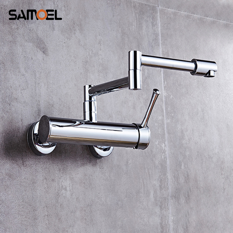 Samoel Brass Black Wall Mounted Dual Hole Foldable Kitchen Sink Mixer Tap Rotating Chrome Single Handle Faucets B3319Samoel Brass Black Wall Mounted Dual Hole Foldable Kitchen Sink Mixer Tap Rotating Chrome Single Handle Faucets B3319
