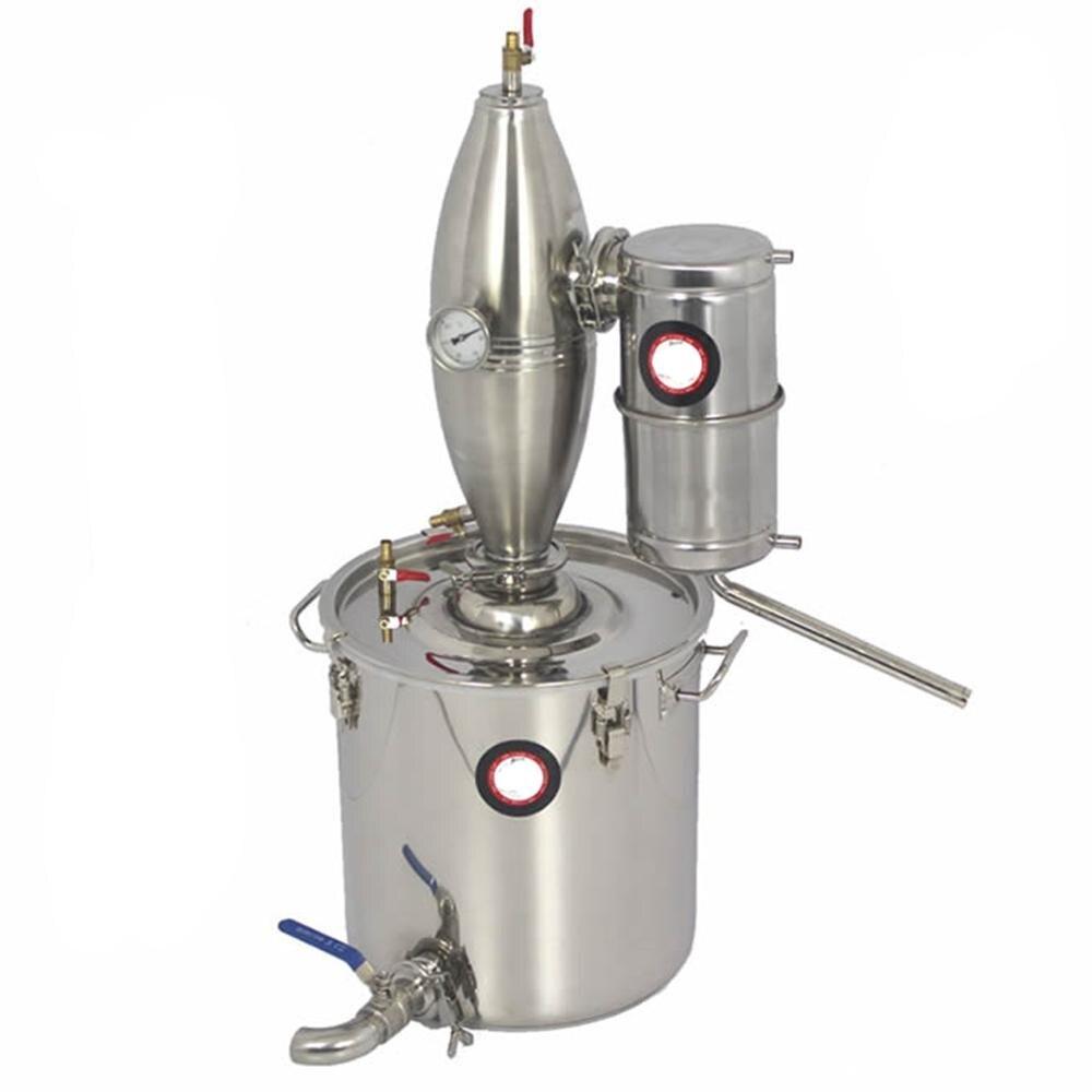 30л спиртовой нержавеющий дистиллятор для домашнего пивоварения, Очищающий бойлер для вина с смесителем