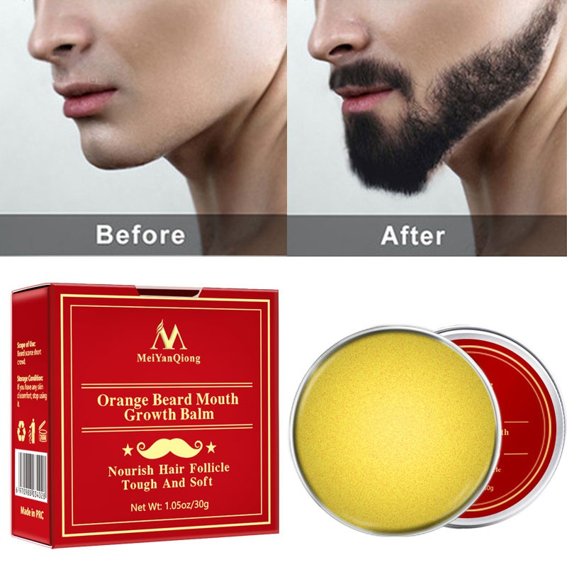New Men\'s Orange Plant Thick Hard Beard Moisturizing Care Cream Smooth Promote Growth Lubrication Cream 30g