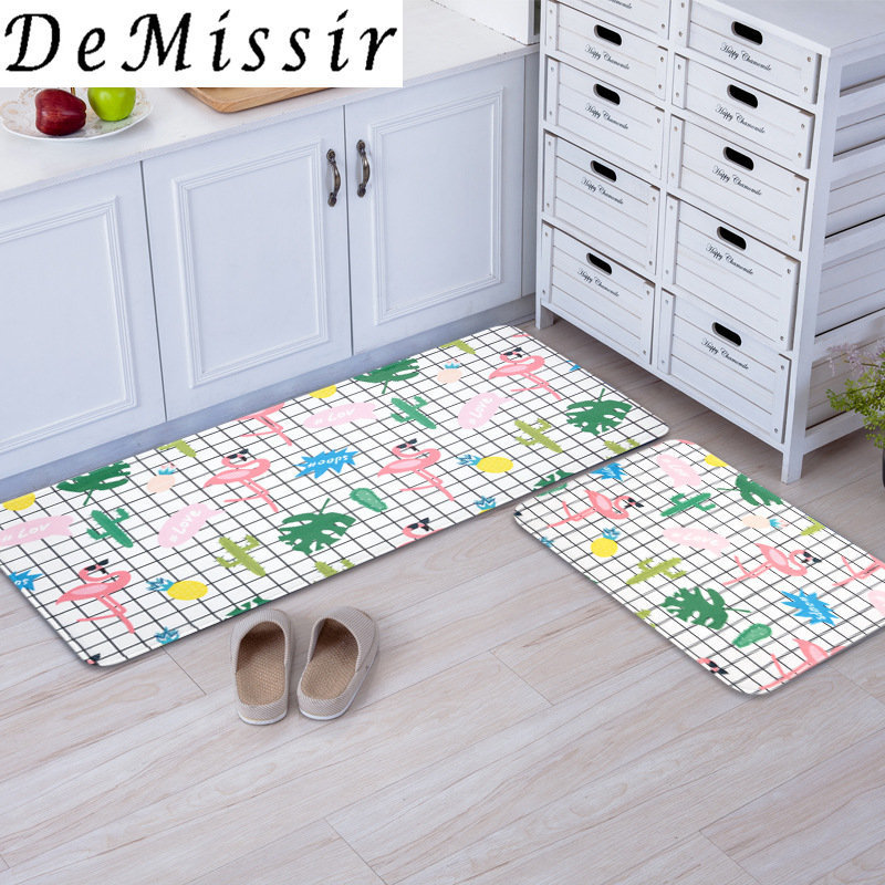 Fresh Lattice Flamingo Pattern Kitchen Carpet Doormat Non-slip Bedroom Bed Side Floor Rugs tapete <font><b>tapis</b></font> <font><b>berbere</b></font> image