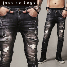 Cheap Men/Males Designer Fashion Zipper Hiphop Black/Dark Biker/Motorcycle Denim Jeans Slim Skinny Straight Ripped Punk Pants
