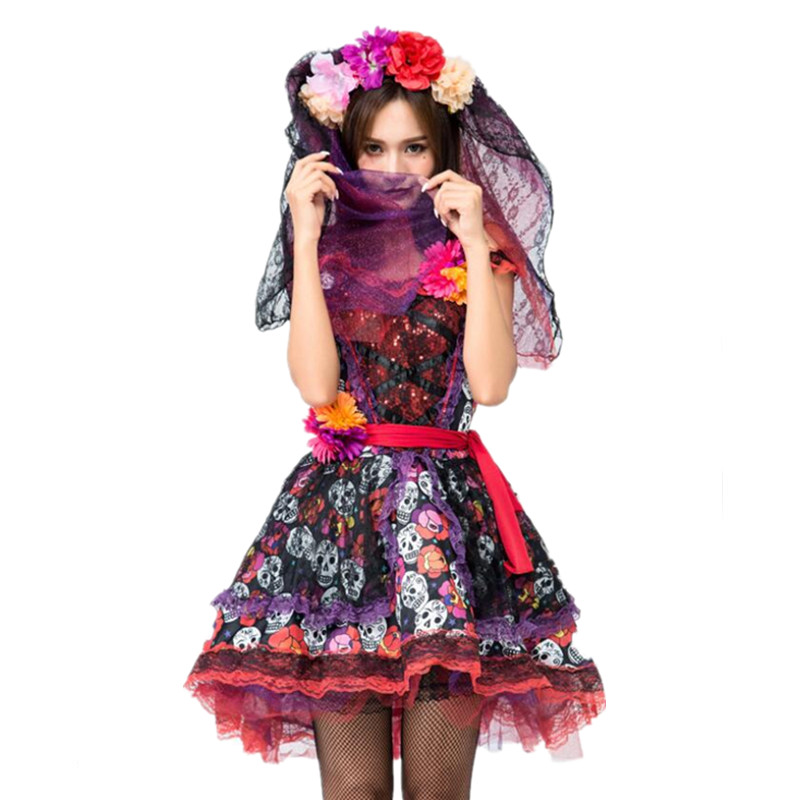 Day of The Dead Adult Costume Skull and Rose Dress
