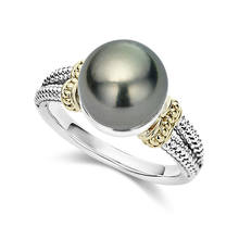 ZHOUYANG Rings For Women Elegant Perfect Round Gray Imitation Pearls Yellow Gold Silver Color Engagement Fashion Jewelry KBR431(China)