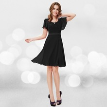 Women Clothing Dresses Alisa Pan 2017 New Arrival HE03990  Round Neck Chiffon Short Summer Party Dress