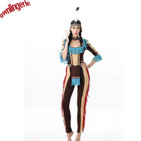 Pants And Blouse Indian Queen Costume Womens Pocahontas Native American Indian Wild West Fancy Dress Party