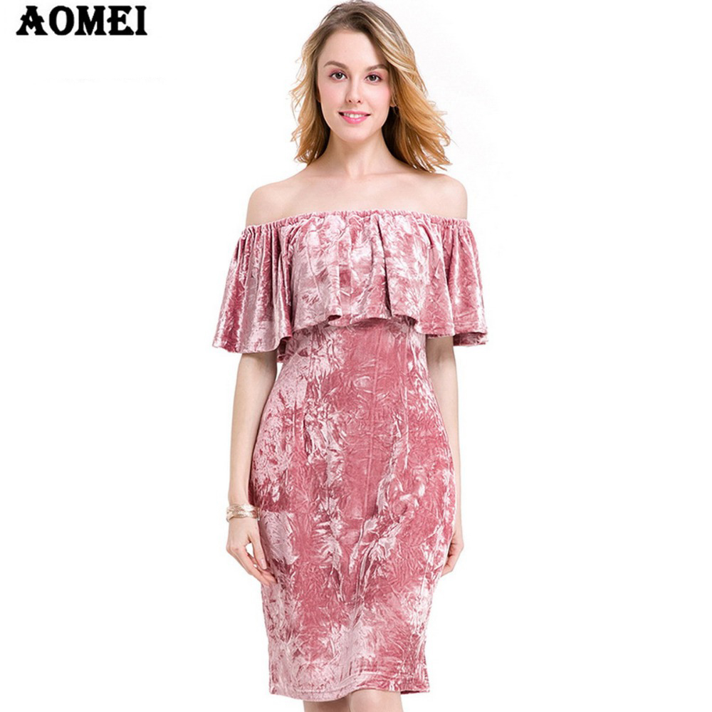 С открытыми плечами розовый цвет Платье До Колена оборками Тонкий дамы вечеринка костюмы халаты Runics Vestidos 2019 Весна