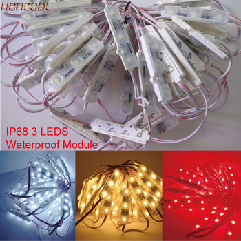 100pcs/lot 5630 3 LED Modules injection LED bar light white warmwhite blue red module Waterproof IP68 DC12V for decoration
