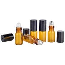 Botella Roll on de vidrio ámbar con rodillo de acero inoxidable, botella de Perfume con rodillo de aceite esencial, 3ml, lote de 100 unidades