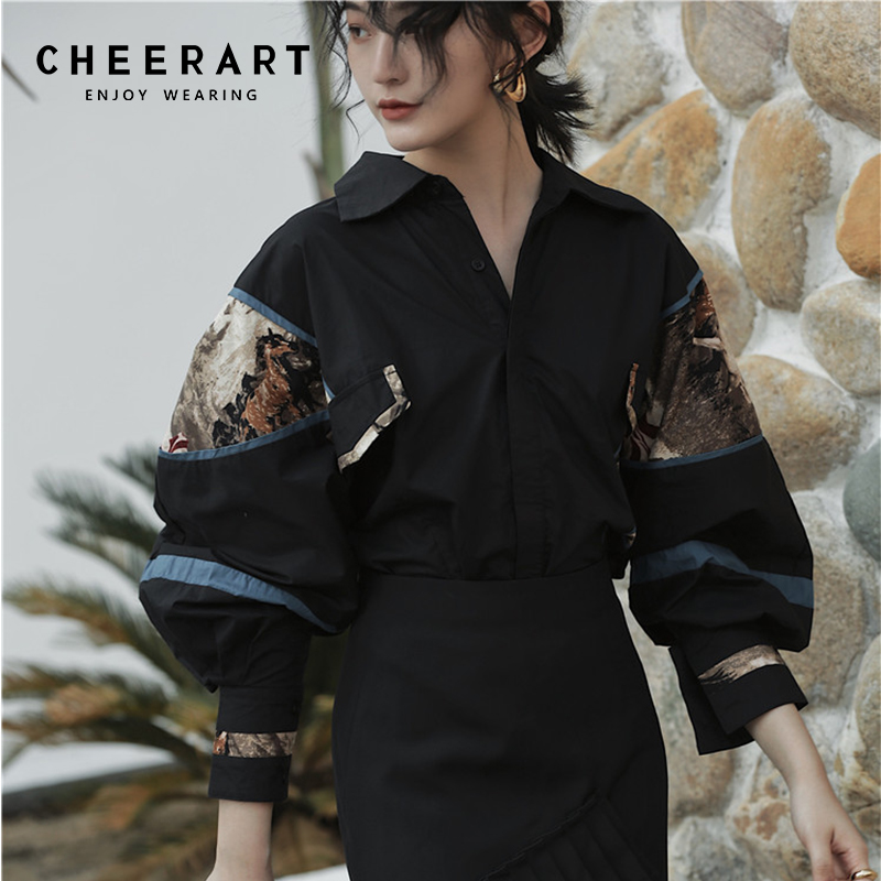 Cheerart 2019 Vintage Blouse Women Pop Long Sleeve Oversize Print Black Shirt Cotton Tops And Blouses Femme Streetwear
