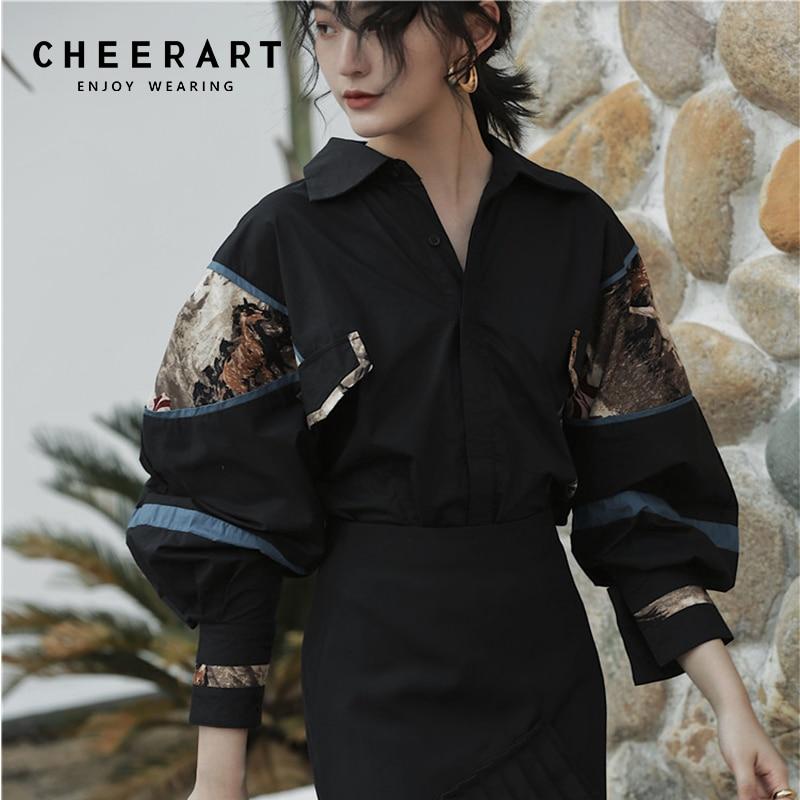 Cheerart 2019 Vintage Blouse Women Pop Long Sleeve Oversize Print Black Shirt Cotton Tops And Blouses Femme Streetwear