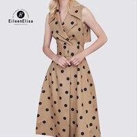 Летнее платье Для женщин ретро платье ремень в горошек без рукавов элегантные Платья для вечеринок сарафан халат Vestidos