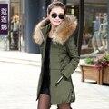 2016 mujeres del invierno chaqueta delgada medio-largo prendas de vestir exteriores femenina más tamaño engrosamiento capa de las mujeres