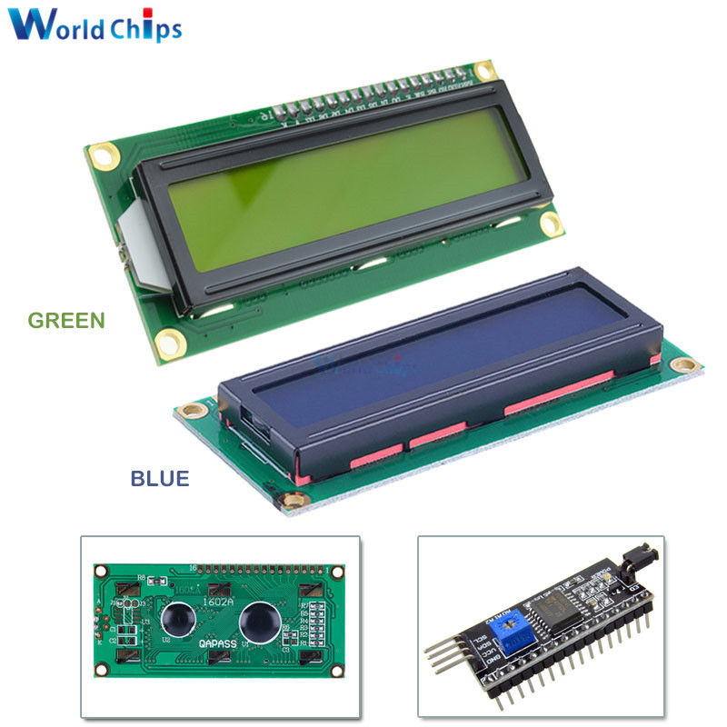 LCD1602 1602 Module Blue/Yellow Green Screen 16x2 Character LCD Display Module PCF8574T PCF8574 IIC I2C Interface 5V For Arduino