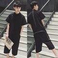 2016 лето большой размер мужчины комбинезон вернуться молнии с короткими рукавами комбинезон кусок брюки балахонах случайные моды короткий брюки Q249