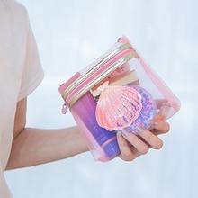 Lanzon Pink Transparent Mesh Cosmetic Bag Girls Waterproof Travel Storage Wash Bags Hologram Shell Makeup Organizer Zipper Pouch