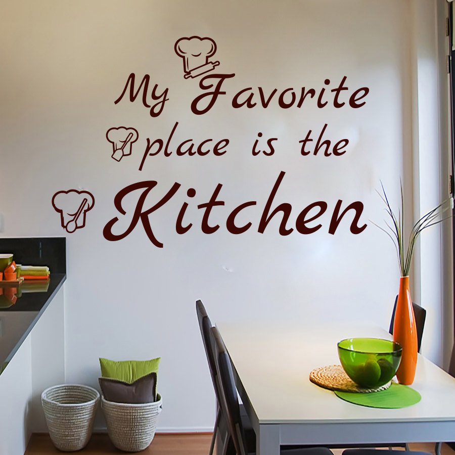 Dctop My Favorite Place Is The Kitchen Wall Decals Chef Hats Removable Art Vinyl Home Decor