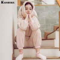 Autumn Winter Women Pajama Sets Sleepwear Thicken Rabbit Pajamas Animal Pyjamas Women Female Flannel Two Pieces Suit Home Wear