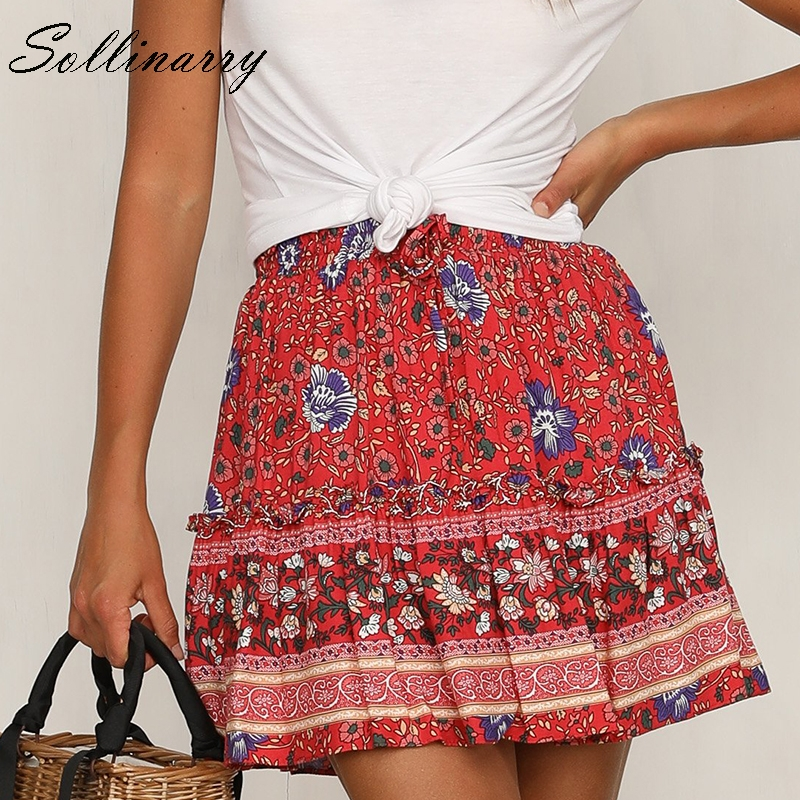 Sollinarry Red Flower Retro Women Dress Floral Beach Summer Casual Dresses Sets Square Collar Bohemian Dress Vestidos