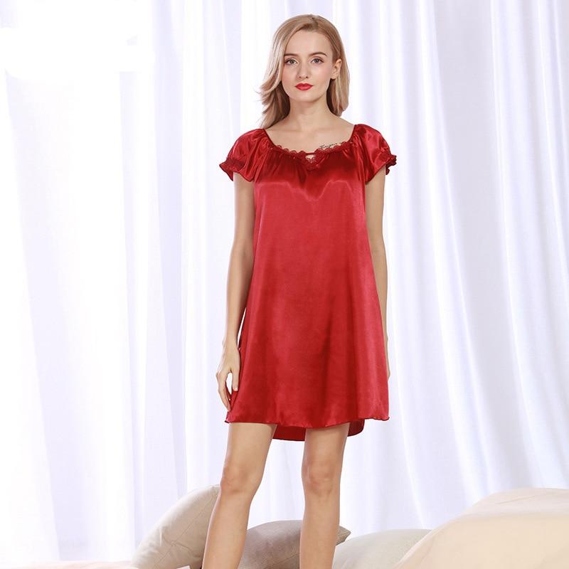 7dafae48123 NG093 Satin Silk Women Nightgown Short Sleeves Night Dress Sexy Summer  Sleepwear Brand Nightwear Lingerie Female Nightdress Gown-in Nightgowns    Sleepshirts ...