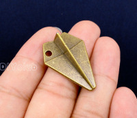 20pcs Antique Bronze 3D Paper Aircraft Charms Pendant Paper Airplane Charm 31x22x10mm
