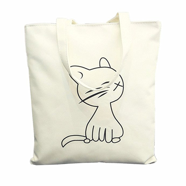 WCS-Canvas Tote Bag with Zipper Closure Grocery Shopping Bag Shoulder Bag for Women Girls Students Kitten pattern tote bag