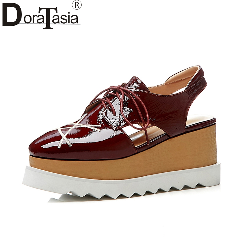 large size33 42 cow genuine leather wedge heel platform Women sandals lace up top quality Shoes