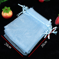 Hot Sale 200pcs/lot Light Blue Organza Bags 20x30cm Big Wedding Favor Jewelry Boutique Packaging Bags Drawstring Gift Bag