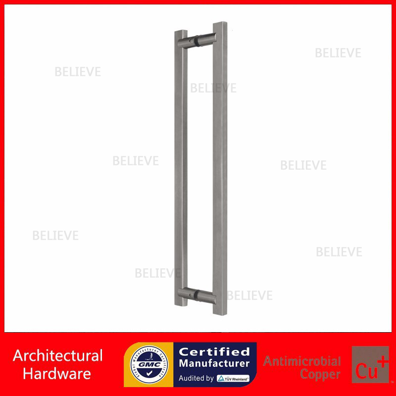 Satin Stainless Steel Pull Handle Brushed Entrance Door Handle PA-107-30*15*450mm For Glass/Wooden/Metal Doors antimicrobial black solid nylon offset door pull handle for entrance glass wooden metal frame doors pa 797