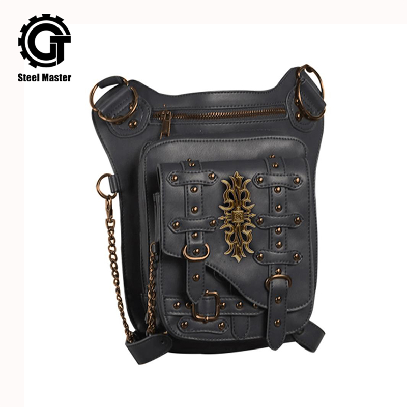 Vintage Rivet Retro Leg Bag Men Women Punk Gothic Waist Bag Fashion Black Crossbody Shoulder Bag Steampunk Leather Bags 2017 New все цены