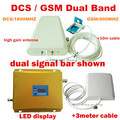 1 conjunto de Alto ganho LCD Dual band de reforço de sinal GSM 900 1800 home/office kit repetidor de SINAL amplificador de sinal de Sinal de bar amplificador