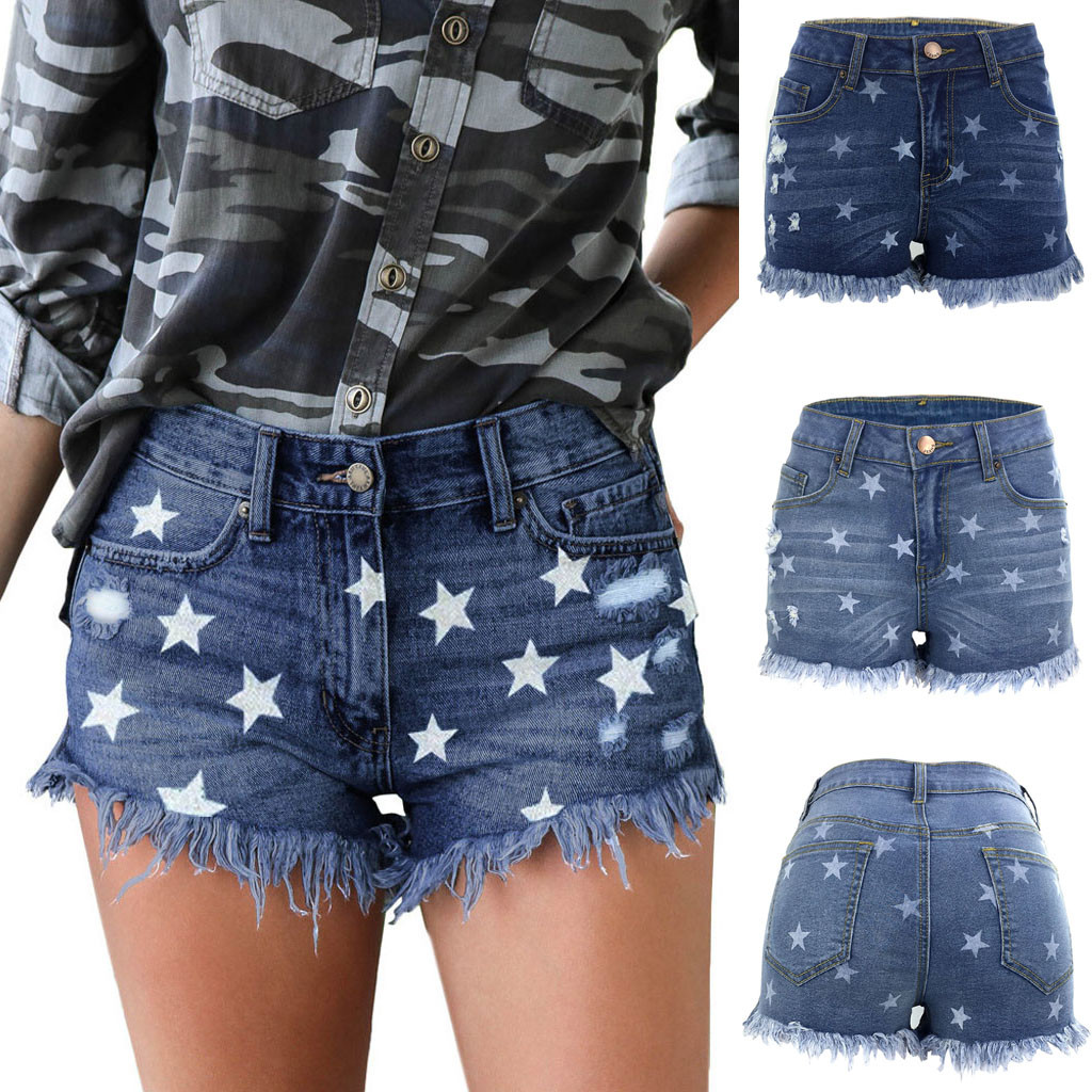 New Fashion Button Star Print Denim Shorts Women's Sexy High Waist Jeans Button Pocket Slim Fringe Shorts spodenki damskie 40*