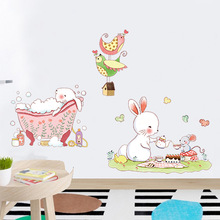 Cartoon Cute Rabbit Shower Wall Stickers Art Home Decoration for Living Room Kids Room Kindergarten Nursery Room Decals Murals