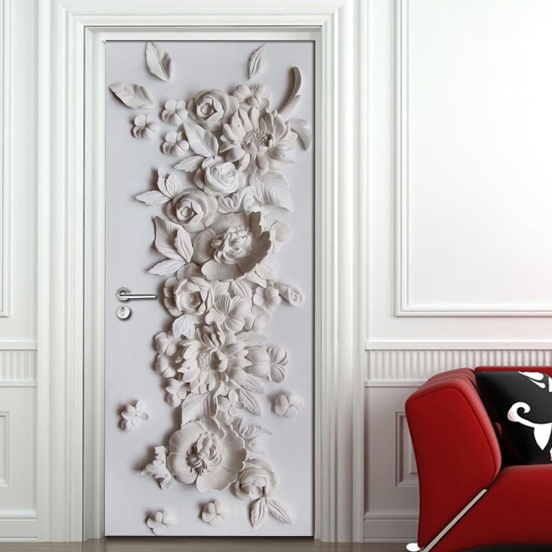 Embossed Flower Mural Bedroom Living Room Door Decoration Sticker 3D Wallpaper PVC Self-adhesive Waterproof Mural Wall Painting