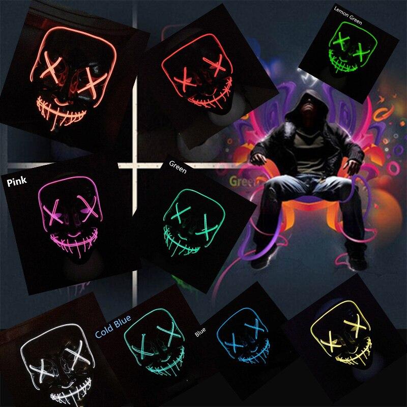 Máscara de Halloween EL Light Up máscaras de fiesta purga año de elección máscaras divertidas Festival Cosplay disfraz suministros brillo LED purga máscaras